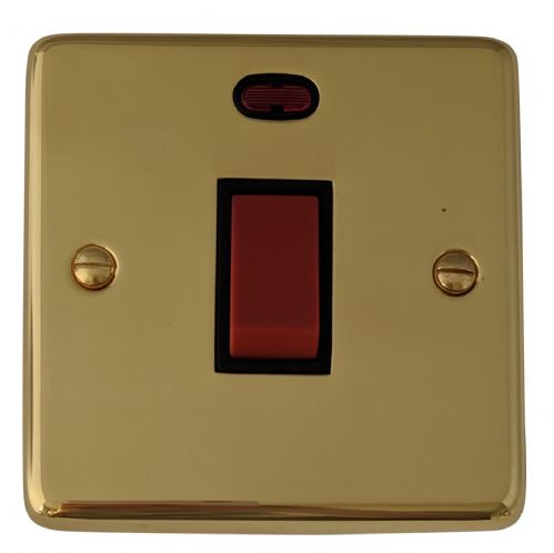 G&H CB46B Standard Plate Polished Brass 45 Amp DP Cooker Switch & Neon Single Plate